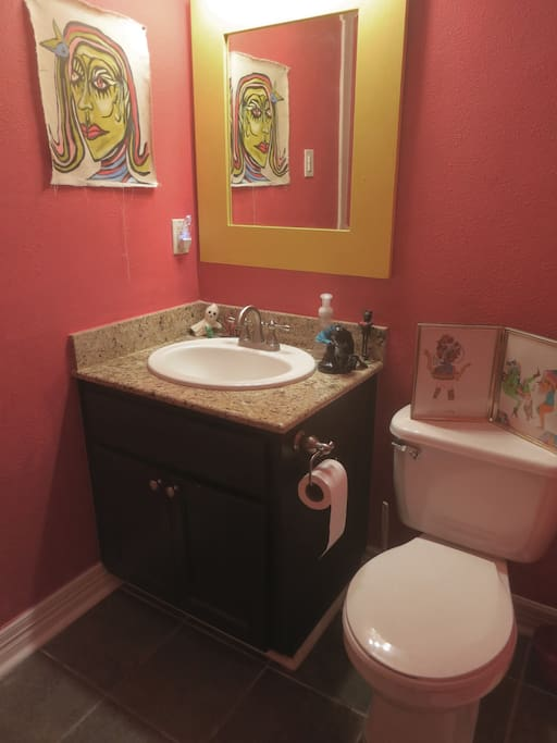 The downstairs powder room...