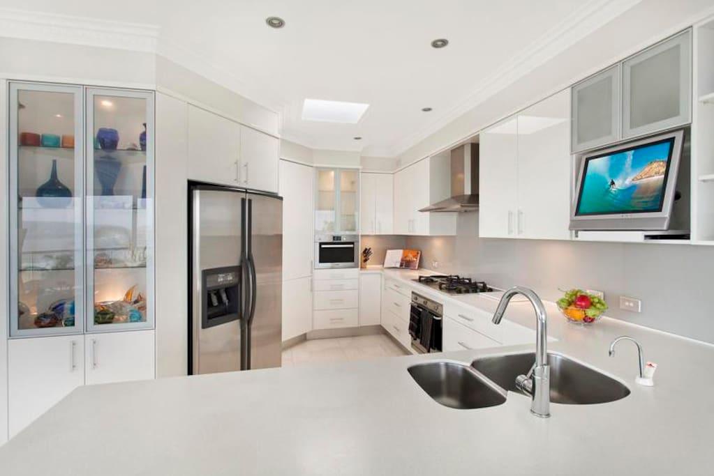 Modern Bright kitchen with views