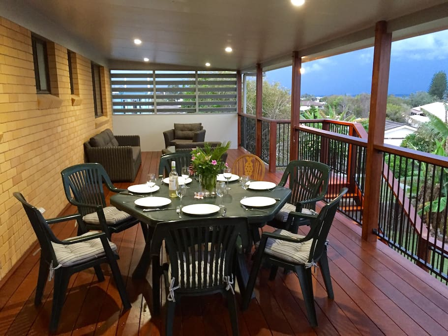 New rear deck for outside dinning and ocean glimpses