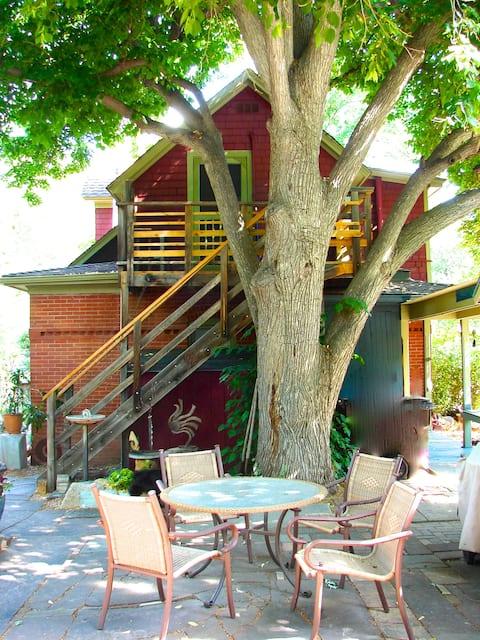 """Treehouse"" apt. walk to downtown, CU, hike/bike"