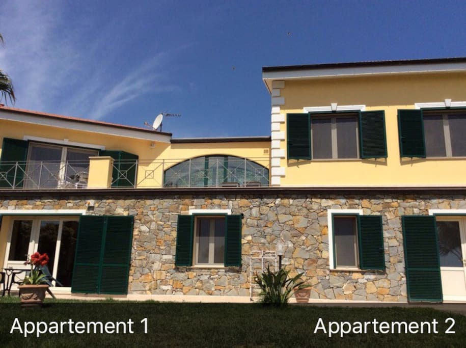 This picture shows the entrance to both apartments: first & bigger one on the left, second (see view apartment 2) on the right.
