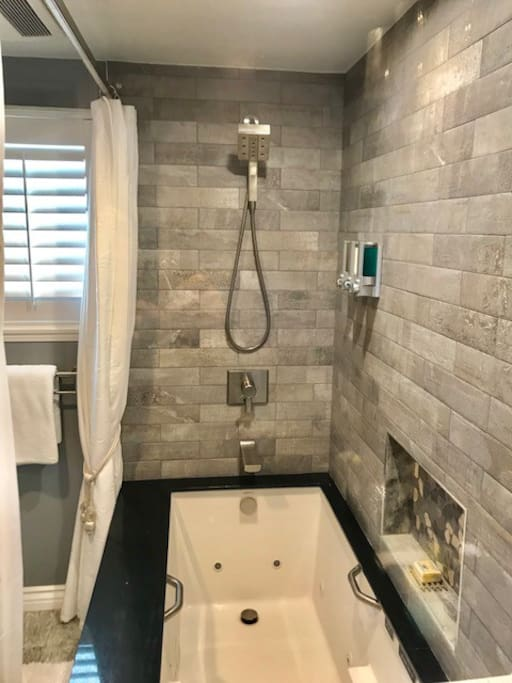Enjoy a hot shower or relaxing whirlpool tub.