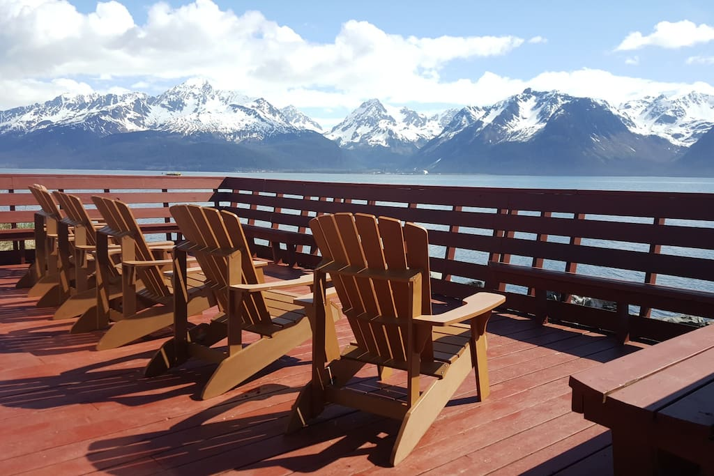 View of Mountains and Bay from the Deck