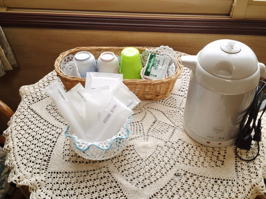 Guest room comes with toiletries and Electric kettle. Free green tea is also available.