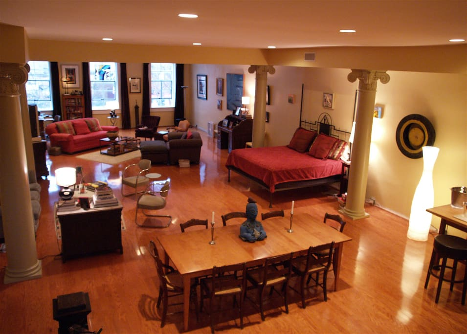 This gives you the feel of the 2,400 sq ft space as seen from the terrace stairs.