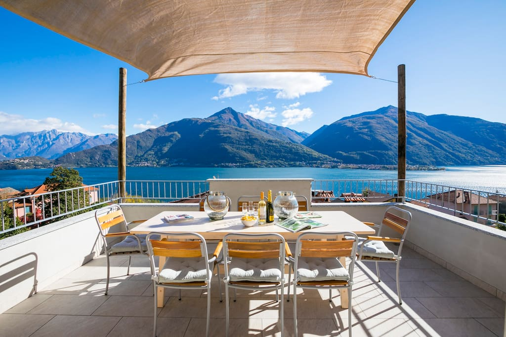 Al fresco dining  with magnificent view of the lake