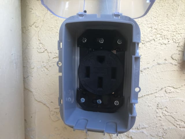 Outdoor NEMA14-50 outlet to charge your Tesla or other plug-in electric vehicle.