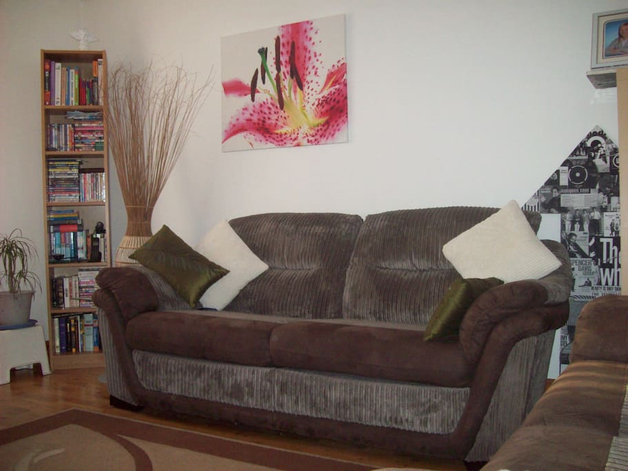 Large comfy sofa to relax on.