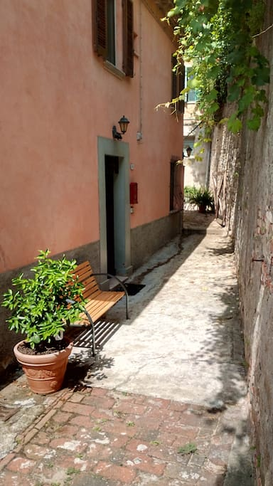 Entrance with bench and lemon-tree