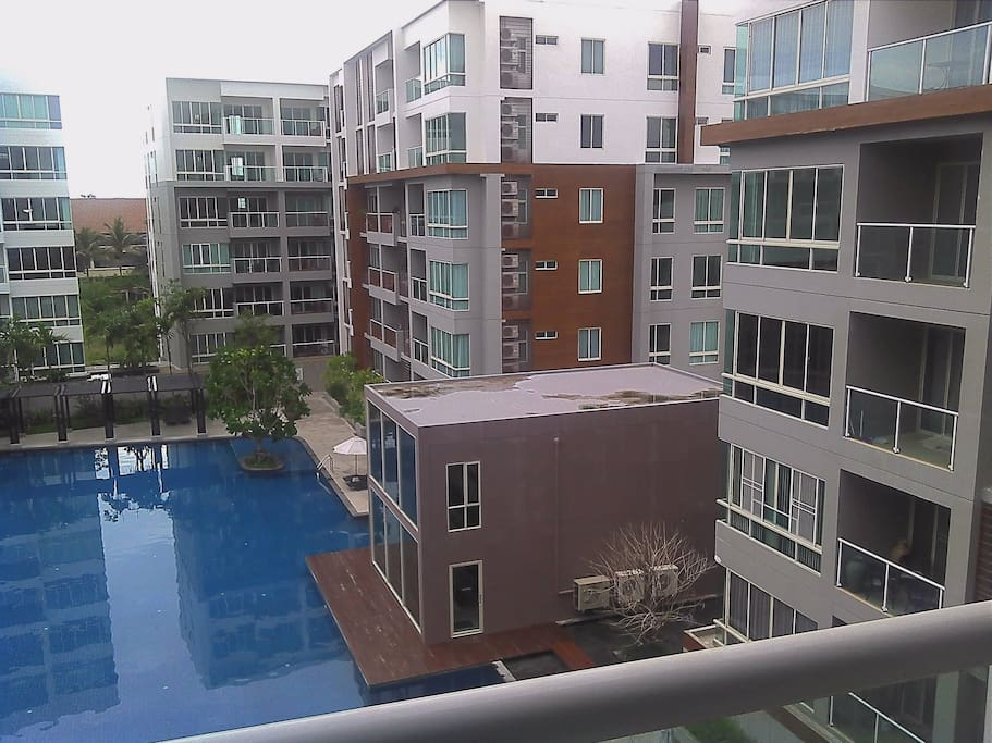 Large balcony with pool view