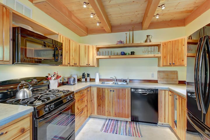 Rustic dog-friendly cabin with a wood stove and mountain views