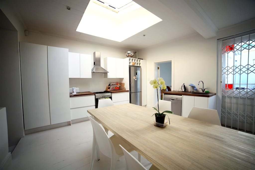Open plan kitchen with sky-lite. Get plenty on sun and opens up to living room