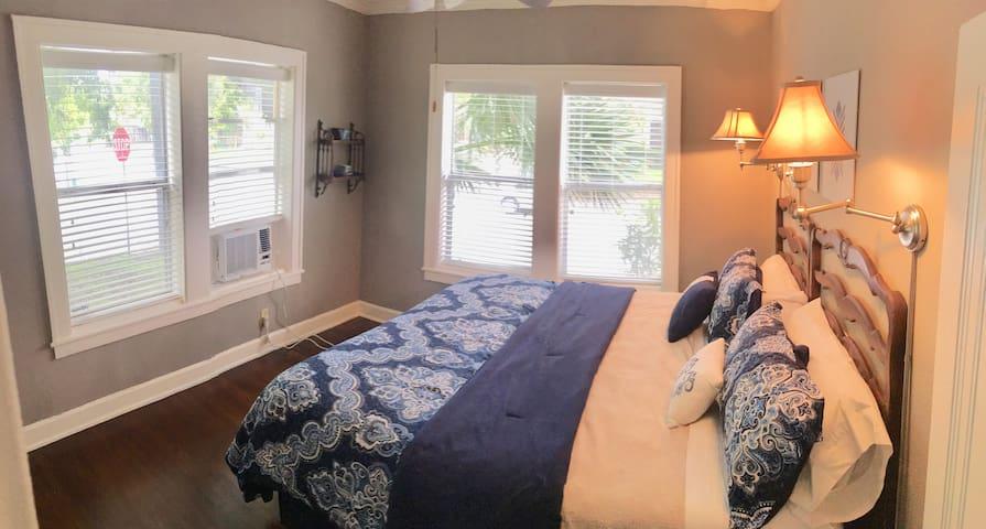 New king mattress and window ac/heat to make sweet dreams
