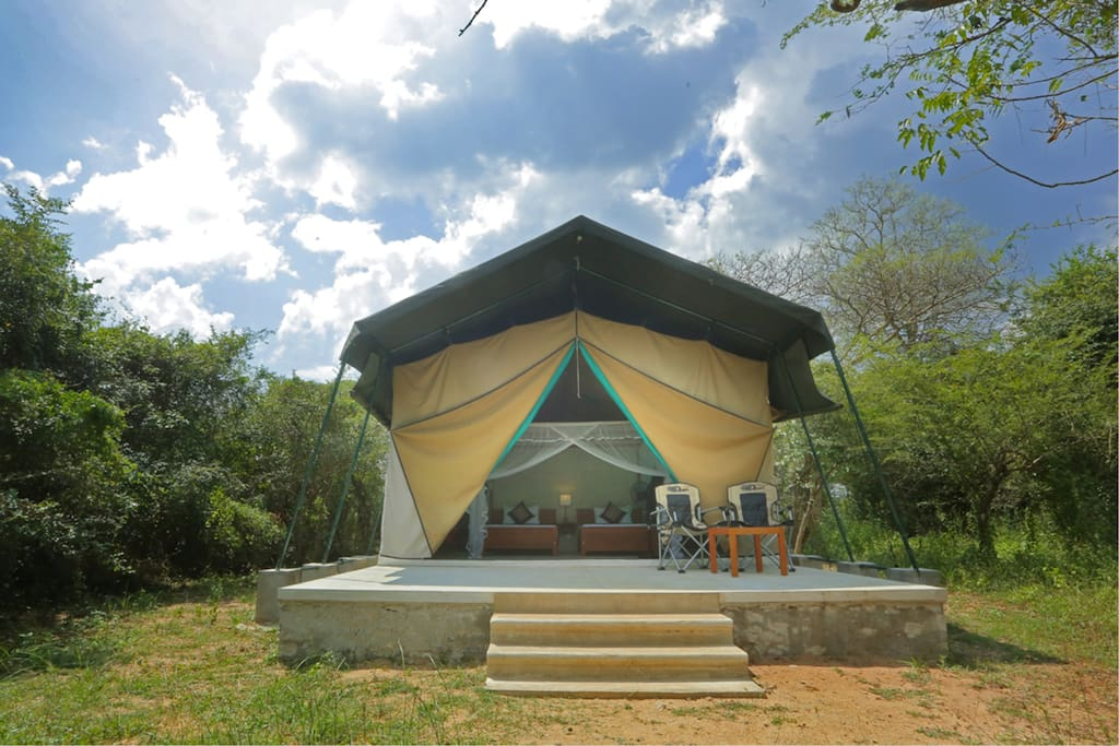 View of tent from outside