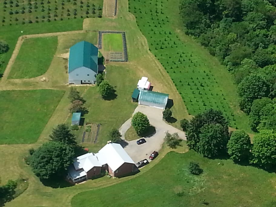 Aerial view of farm buildings