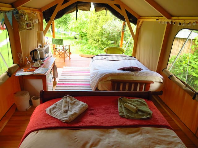 View from the bed looking out into the garden with futon couch made up into double bed