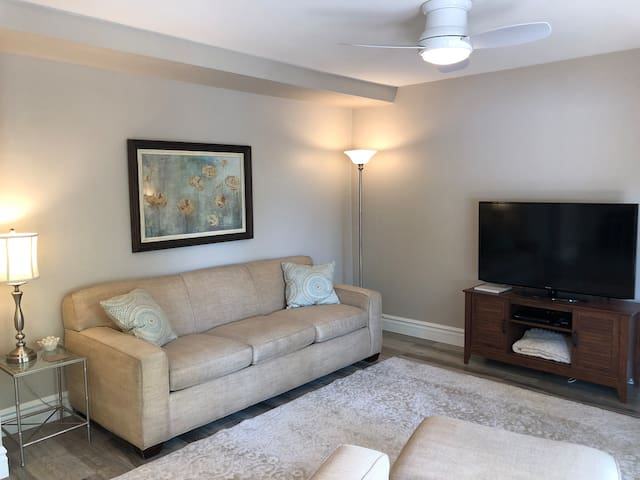 Open living area with Netflix smart TV & DVD player for endless entertainment