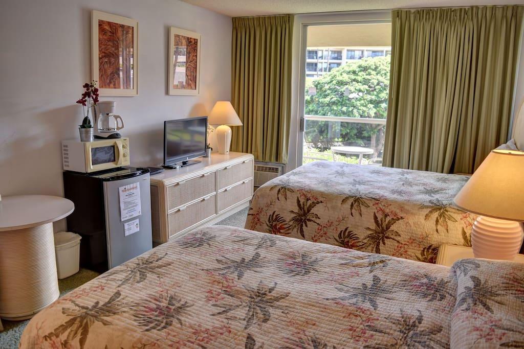 TV, mini fridge, microwave in hotel bedroom