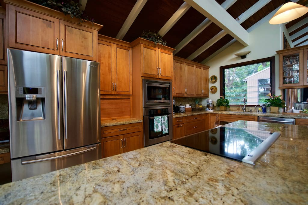 Main kitchen island with gourmet cook top