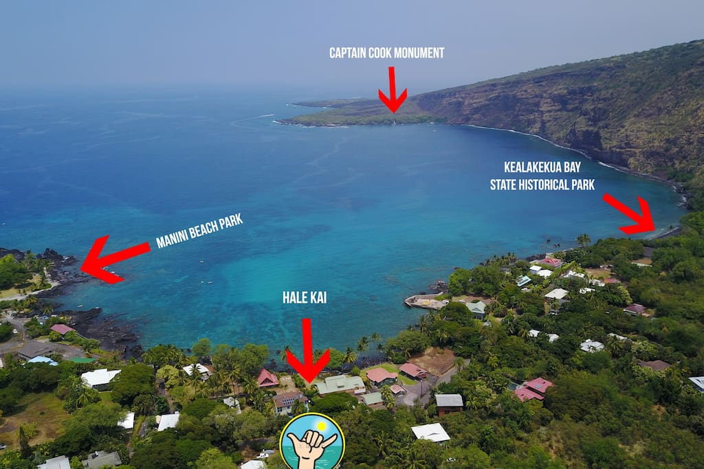Here's an aerial photo showing what's just across the street in Hale Kai's backyard.  Only a 2 minute walk to Manini Beach Park!
