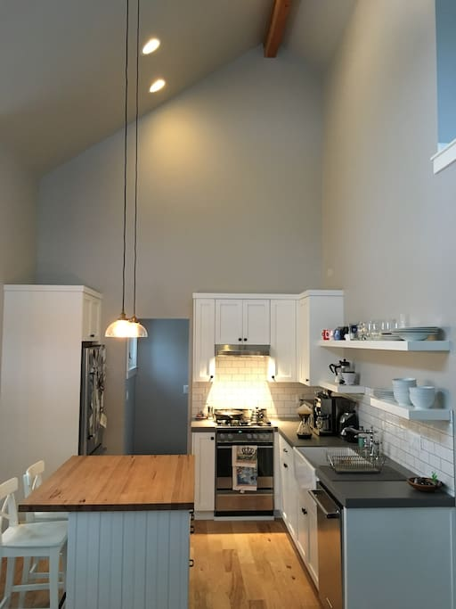Kitchen with high ceilings