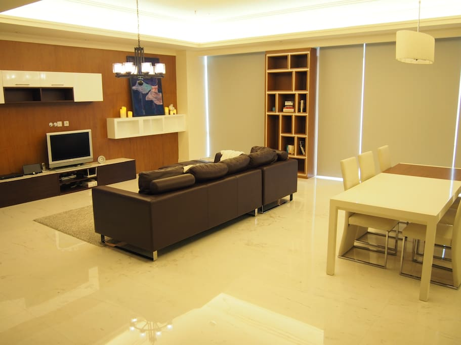 Living room with shades close