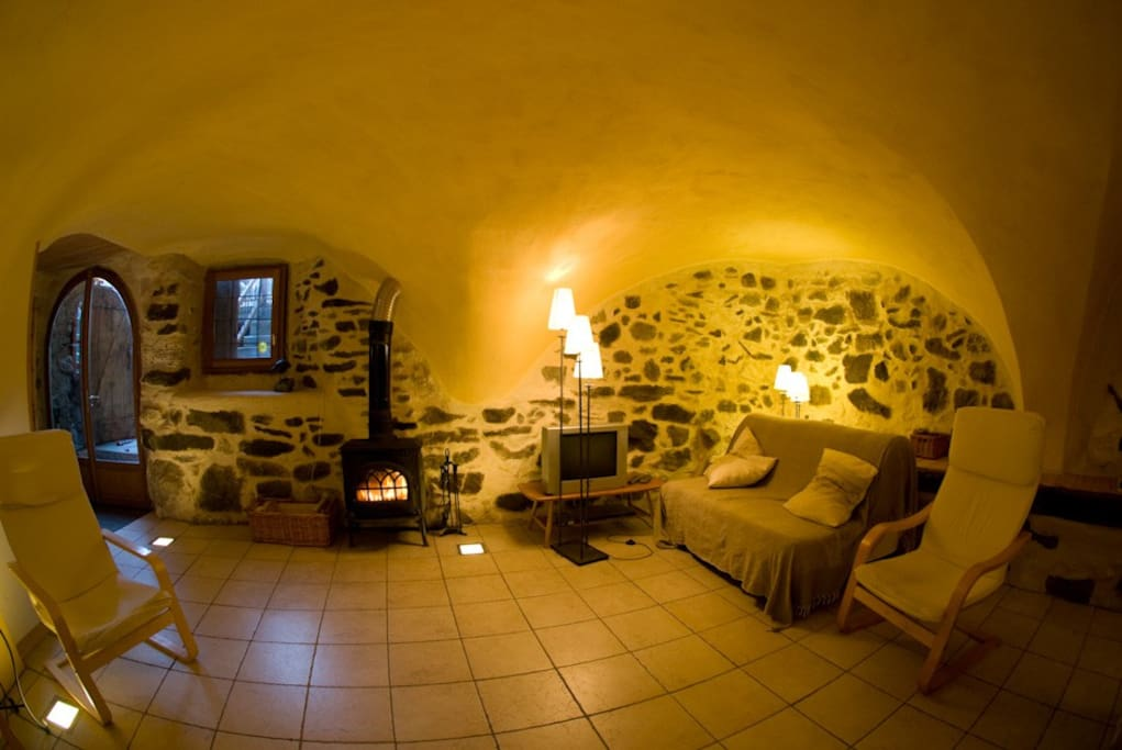 wonderful wood stove to warm your feet on after a day's skiing