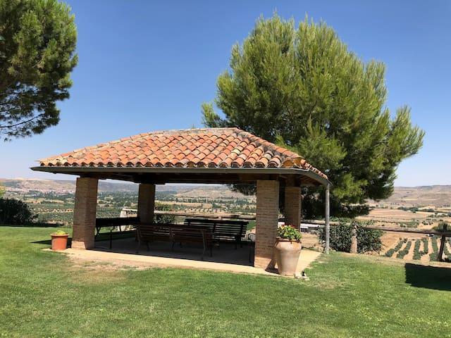 Zona de descanso al aire libre, con hermosa vista a los olivos.
