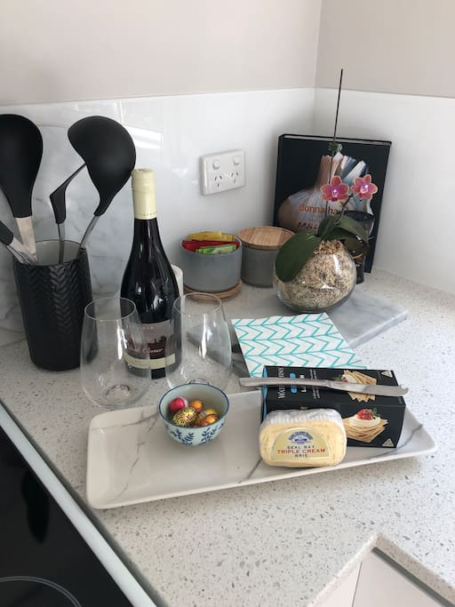 Tasmanian products for your use. Wine cheese and biscuits
