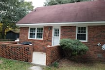 Large side porch and side of house facing waterview.