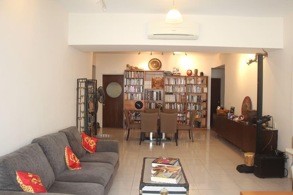 Big Living/Dining Room: spacious, artistic, high end sound system