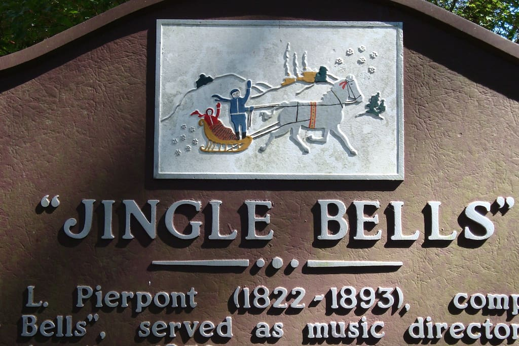 """The sign in Troup Square commemorating the writing of """"Jingle Bells"""" in 1857."""