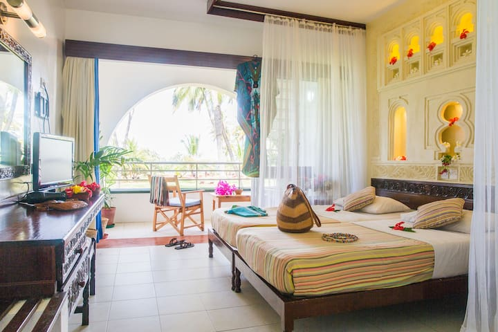Sea side rooms on Nyali beach in a gated resort.