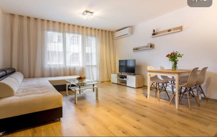 Apartment in city center with private garage