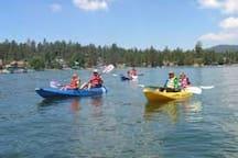 Kayaking on Big Bear Lake. Big Bear Marina is 0.3 mile from the cabin.