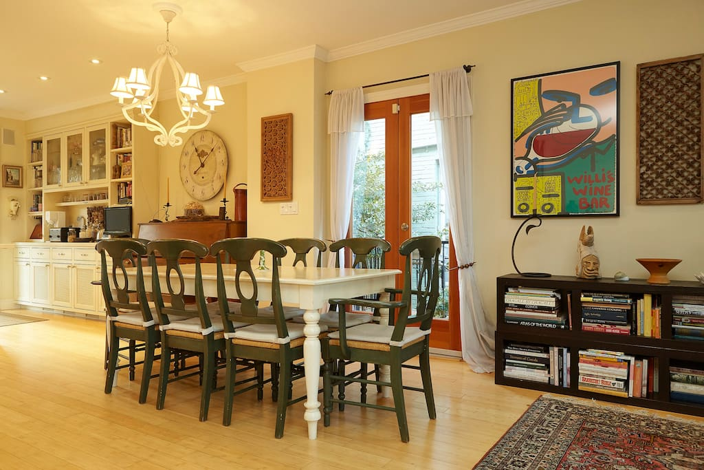 Dining room seat 8 plus 4 more at counter, french window balcony, grand piano, over looks gardens back & front