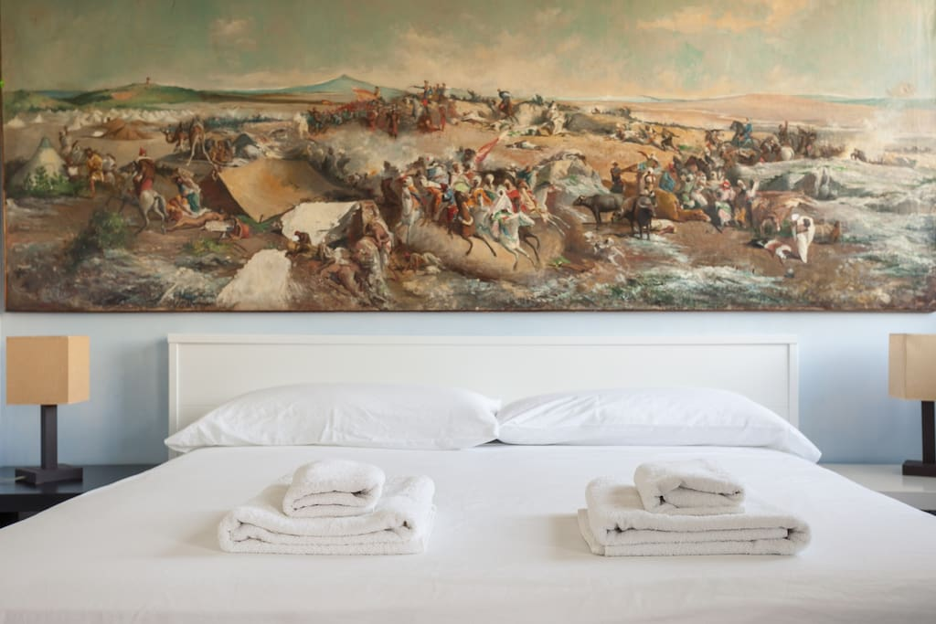 """Replica of the painting """"The Battle of Tetouan"""", painted by Mariano Fortuny and Marsal between 1862 and 1864, which reflects the events of the Battle of Tetouan during the African War."""
