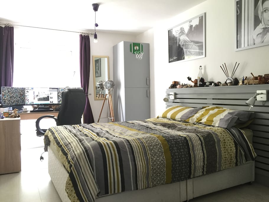 Spacious bedroom with king-size bed