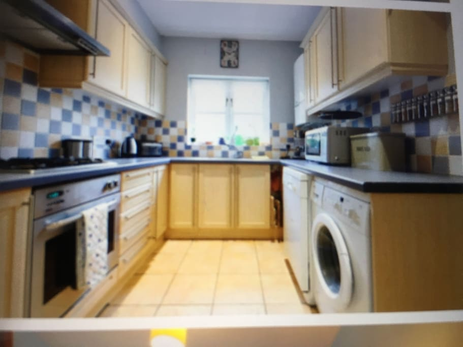 There is a dishwasher along with the washing machine gas hob electric oven. The kitchen is well stocked with utensils etc