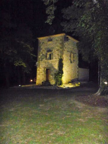 The Pigeonnier at night