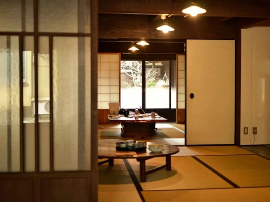 The 1st floor kitchen/living room (2 Japanese-style rooms/tatami-floored)