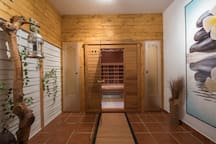 Chill out room with infra red sauna