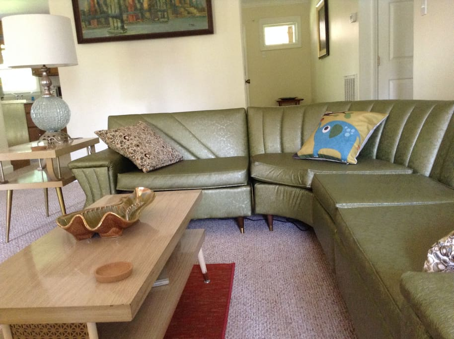MCM sectional couch, tables