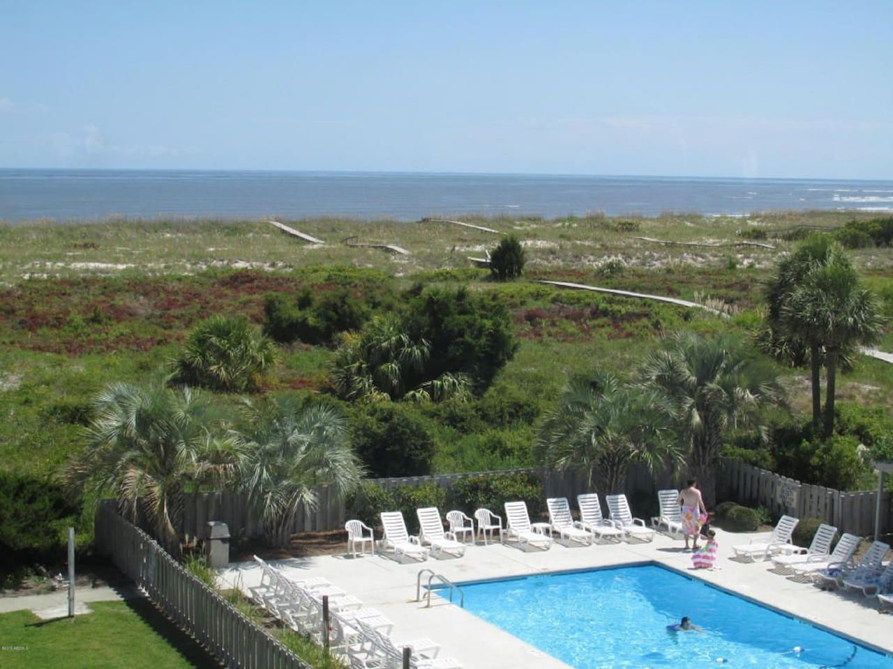 Pool and ocean view from our balcony