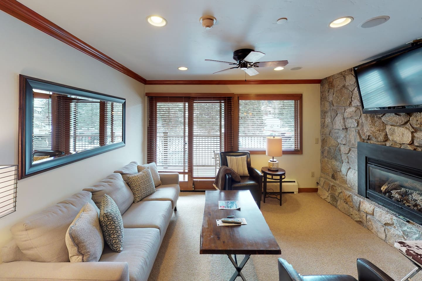 Spacious living area with gas fire place