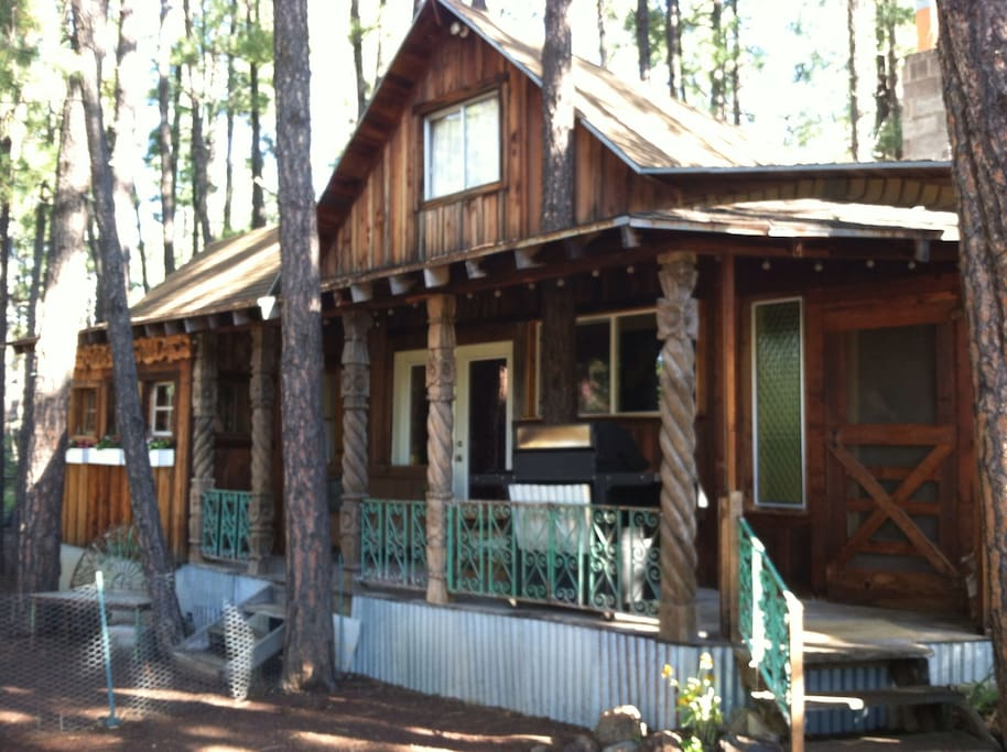 Rustic Rose porch quiet nestled in the center of the large double lot with over 100 trees surrounding the cabin.