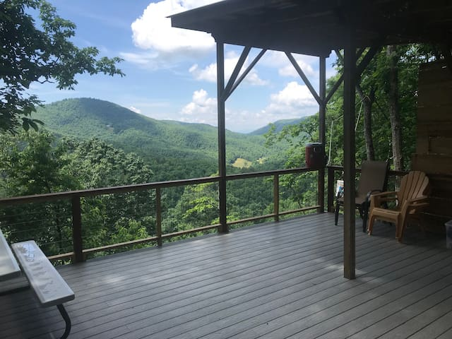 Glamping & Camping deck near Asheville, Views, Dog