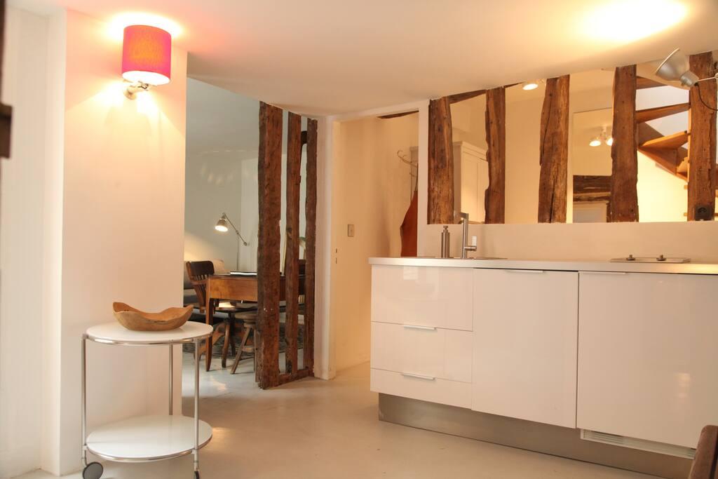 Entrée et cuisine ouverte sur tout l'appartement.