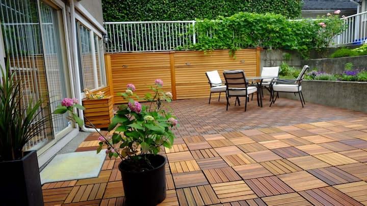 Beauty lge 2br+den private patio Nr DT温西豪区独立两房自带露台