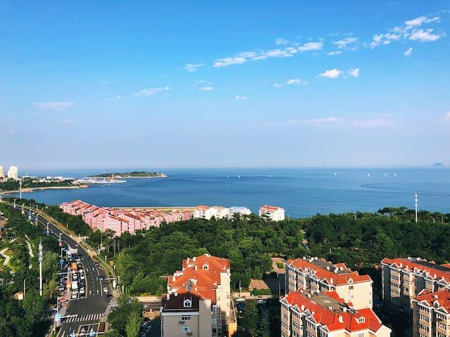 全视野360度迷人海景,露天花园阳台,市中心现代风格公寓